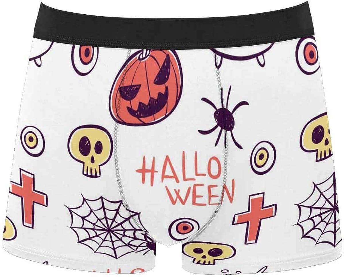 InterestPrint Men's Classic Fit Boxer Briefs Underwear Breathable Underwear Halloween Pumpkin Spider Bat