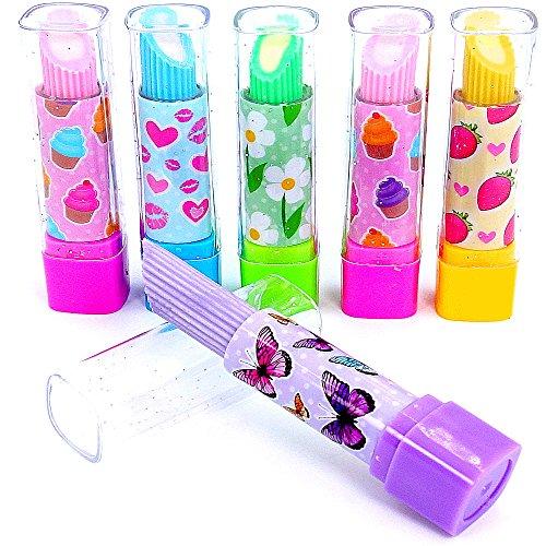 German Trendseller® - 6 x Glitzernde - Lip - Stick Radierer für Kinder ┃ Kindergeburtstag ┃ Mitgebsel ┃ Lippenstift ┃ 6 Stück