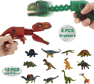 GreenKidz Hungry Dino Grabber Toy with Dinosaur Figure Playset Includes 2PCS T Rex Grabbers with 12PCS Small Dinosaurs Figures Extending Grabber Claw Game Snapper Novelty Toys Party Favors for Kids