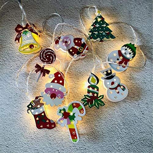 AOIWE - Guirnalda de luces LED con pilas para árbol de Papá Noel, muñeco de nieve para fiestas, jardín, hogar, decoración al aire libre