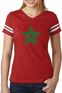 Morocco Flag Vintage Style Retro Moroccan Women Football Jersey T-Shirt
