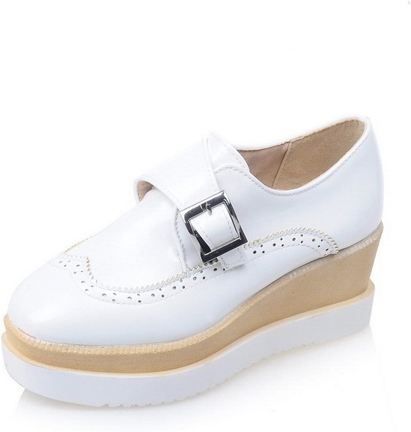 WeenFashion Women's Solid Patent Leather Kitten-Heels Buckle Square Closed Toe Pumps-shoes