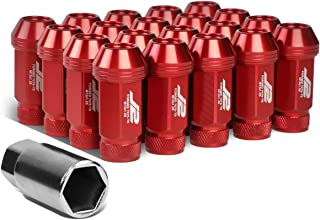 J2 Engineering LN-T7-021-125-RD 20Pcs M12 x 1.25 7075-T6 Aluminum 50mm Open-End Lug Nut w/Socket Adapter (Red)