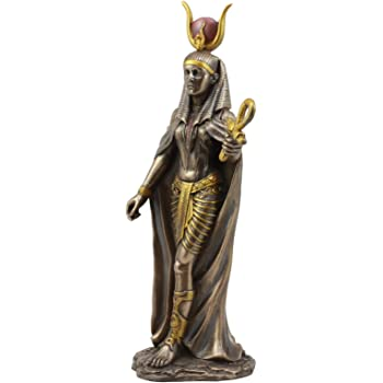 "Ebros Egyptian Deity Goddess Hathor Holding Ankh Statue 11"" Tall Patroness of Motherhood Joy Love and Feminism Classical Egypt Decor Home Office Library Study Historical Sculpture"