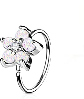 Opal Glitter Set Flower Petals CZ Center 316L Surgical Steel WildKlass Hoop Ring for Nose & Ear Cartilage