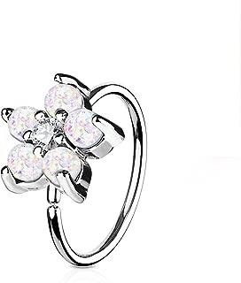 Opal Glitter Set Flower Petals CZ Center 316L Surgical Steel WildKlass Hoop Ring for Nose & Ear Cartilage