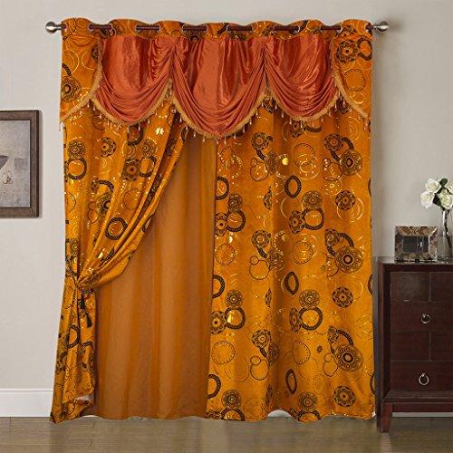 Best Interior Rideau et Voilage Mille et Une Nuit - Orange - Dimensions : 280x260cm