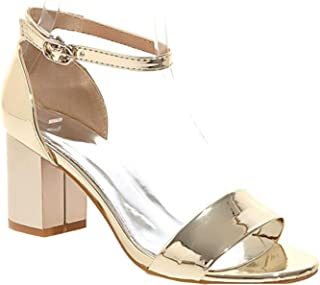 Kingwhisht Plus Big Size Red Gold Silver Pink Buckle Sexy Mid Heel Girl Female Lady Sandals