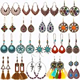 18 Pairs Vintage Earrings with Bohemian Style Alloy, Tassel, Long Layered Dangle Hoop Earrings Set for Women Girls Jewelry Fashion and Valentine Birthday Party Gift