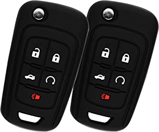KeyGuardz Keyless Entry Remote Car Flip Key Fob Shell Cover Rubber Protective Case For Chevy Buick OHT01060512 (Pack of 2)