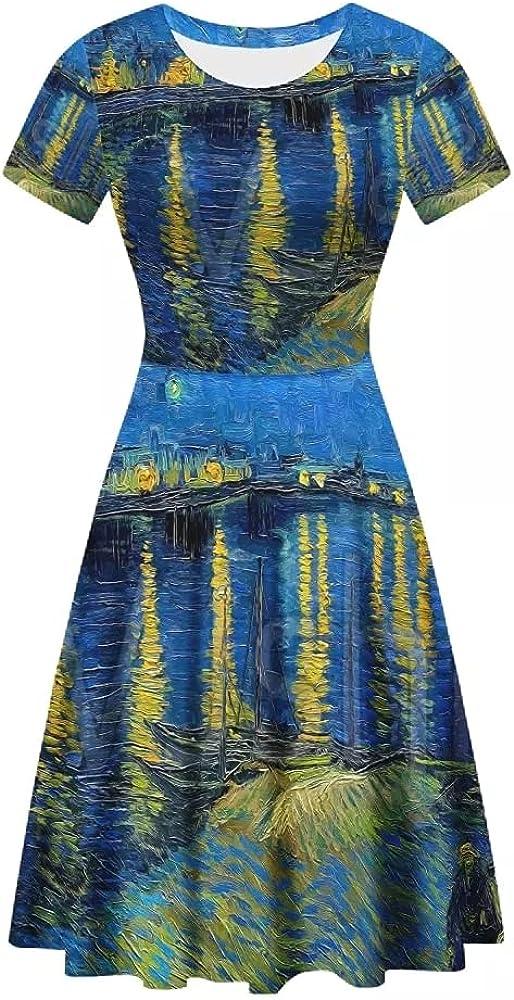 GLUDEAR Women's Summer Casual Van Gogh 3D Print Short Sleeve T-Shirt Swing Dress