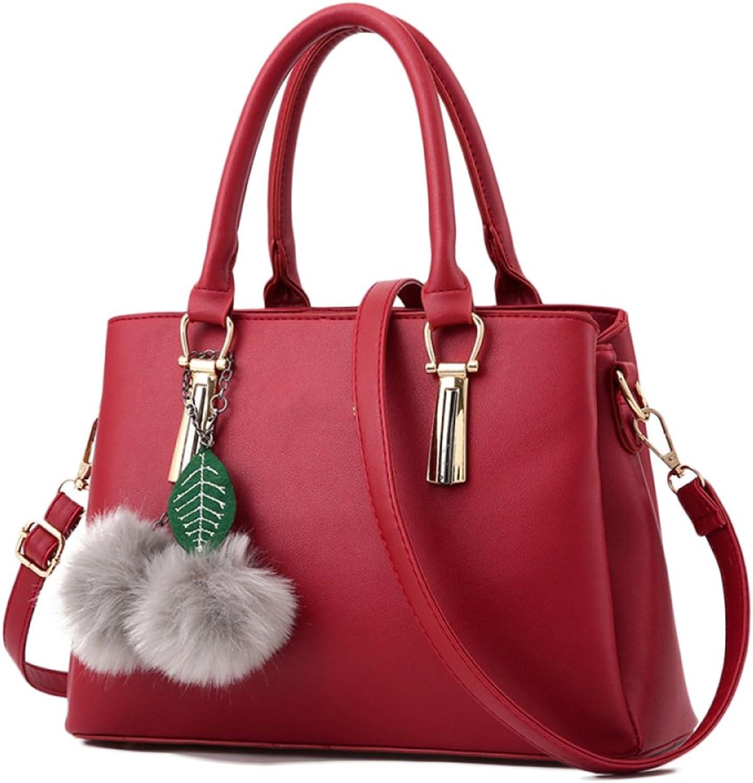 Frauen Totes Bag Modische Top-Griff Tasche Schultertasche PU Ledertasche Handtaschen Mit Pompon Anhänger B07F8D2PQX  Direktgeschäft