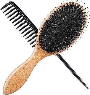 Vinker Hair Brush Set, Boar Bristle Hair Brush With Round Pins, Massage Scalp Wood Hair Brush, Detangling Adding Shine Hair Brush for Women Men Girls - Wide Tooth Comb Included
