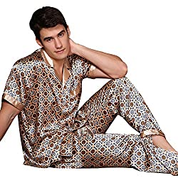 silky patterned pajamas set for men short sleeve and long pants
