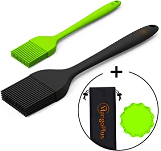 MangoPlus Silicone Basting Brush for Grilling - Silicone Brush Set - Sauce Brushes - Heat Resistant Pastry Brush - Marinating Brush - 8 and 10 Inch