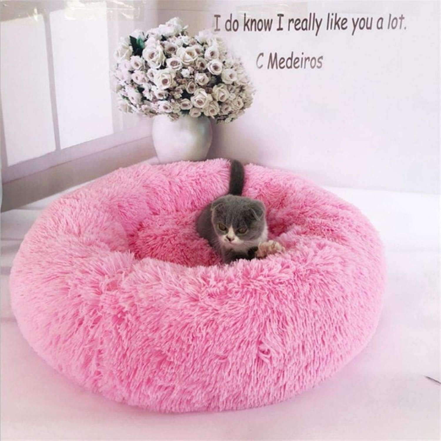 Luxury Dog Bed Warm Deep Sleep Thick Donut Pet Beds for Cat Small Medium Dogs LongPile Plush Soft Round Dog House (S 50cm 5kg Pet,Pink)