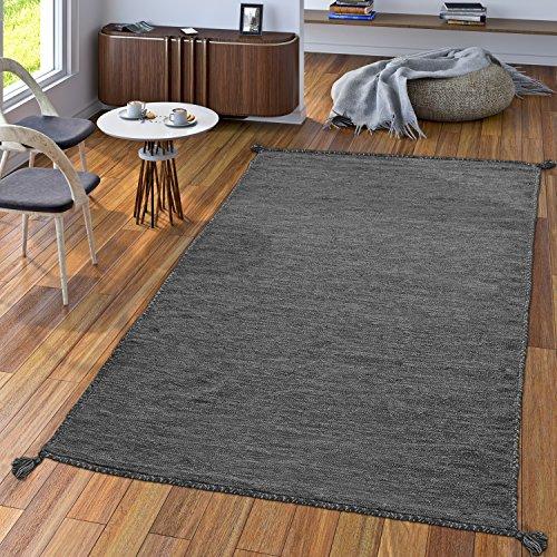 TT Home Handwebteppich Wohnzimmer Natur Webteppich Kelim Modern Baumwolle In Grau, Größe:80x150 cm