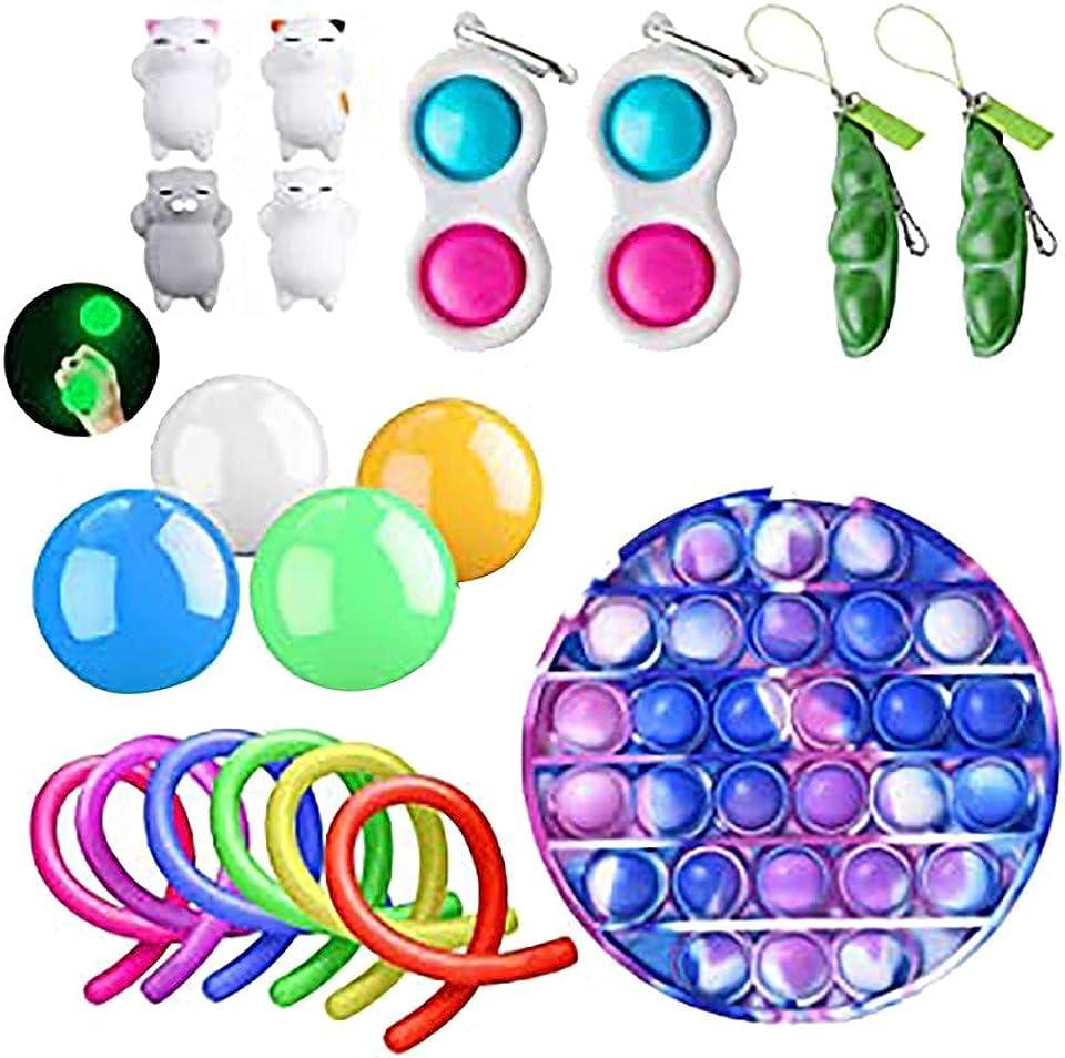 Sensory Fidget Toys Set, Einfaches Fidget Toy Fidget Pack, Pop It Fidget Toy Regenbogen Push Pop Bubble Fidget Sensory Toy, Fidget Box Mit Stress Balls.