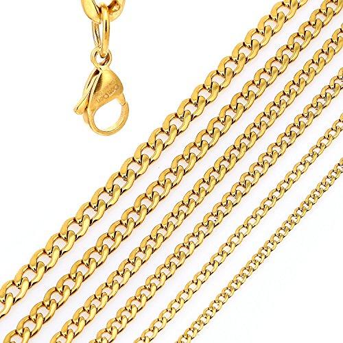 DonDon® Herren Halskette Panzerkette Edelstahl goldfarben Länge 56 cm - Breite 0,8 cm