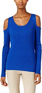 ECI Womens Ribbed-Knit Cold-Shoulder Sweater (Blue, Large)