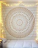 Tapiz Mandala Pared - Boho Decorativo Cubierta Decorativa Casera Etnica India Sala Decoracion - Blanco y Oro - 228 x 213 cm