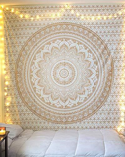 RAJRANG BRINGING RAJASTHAN TO YOU Tapiz Mandala Pared - Boho Decorativo Cubierta Decorativa Casera Etnica India Sala Decoracion - Blanco y Oro - 228 x 213 cm