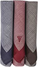 Van Heusen Men's Cotton Handkerchief (Blue, Maroon and Brown, 46 x 46 cm) -Pack of 3
