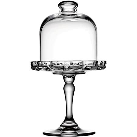 Pasabahce Mini Pattiserie Glass Footed Service Plate Cake Stand with Dome (Clear-1)