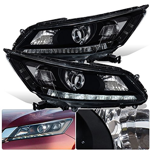 For Honda Accord Sedan 4 Door 4DR Front Bumper Projector LED DRL Headlight Head Lamp Black Housing Clear Lens Clear Reflector Upgrade Assembly Pair Left Right