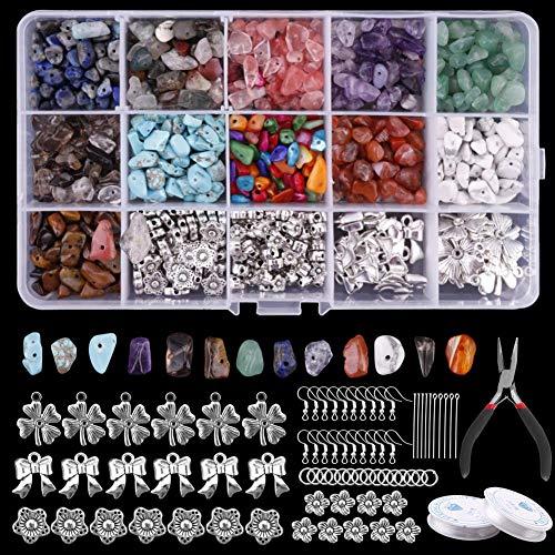 Keyzone Cuentas de piedras preciosas de 15 colores, juego de cuentas irregulares, piedra de energía para collar, pulsera, pendientes, fabricación de joyas