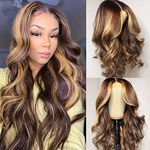 YMS 13x4 Transparent HD Lace Front Wigs Human Hair Pre Plucked 150% Density Human Hair Wigs for Black Women 4/27 Highlight Body Wave Human Hair Lace Front Wigs(18 inch, 4/27Lace Front Wig)