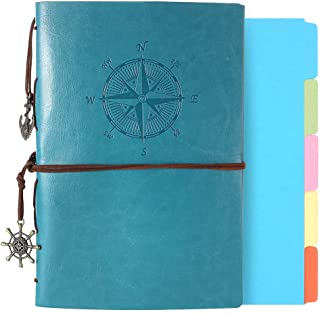 Leather Journal, Refillable Notebook Vintage Spiral Bound Notepad Diary Travel Journal to Write in for Women Men with Lined Pages and 5 Dividers