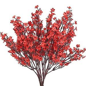 NAHUAA 4pcs Flores Artificiales Pequeñas Gypsophila Artificiales Orquideas Rojas Flor Baby's Breath Arbusto Artificial…