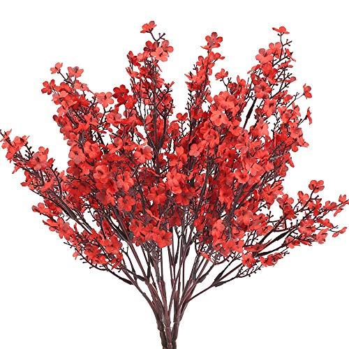 NAHUAA 4pcs Flores Artificiales Pequeñas Gypsophila Artificiales Orquideas Rojas Flor Baby's Breath Arbusto Artificial para Exterior Fiesta Boda Decoración Interior Balcón Boda Fiesta