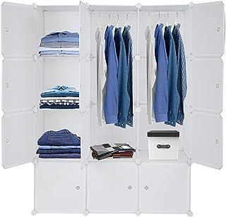 Sebastianee Armoire Portable DIY, Plastique Penderie, 16 Cubes de Rangement pour Vêtements, Chaussures, Accessoires, blanc...