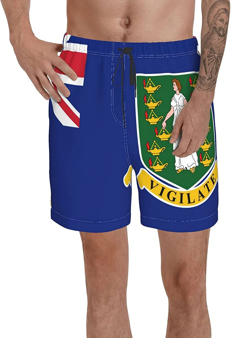 Count British Virgin Islands Flag Men's 3D Printed Funny Summer Quick Dry Swim Short Board Shorts with