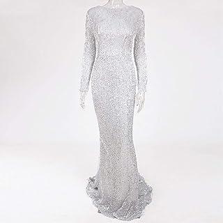 Elegant O-Neck Long Sleeve Sequined Maxi Dress