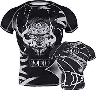 FTEIF Running Active Base Layer Tops Breathable Mens Boxing MMA Compression Shirt