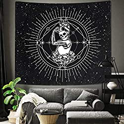 Black and White Skull Print Tapestry