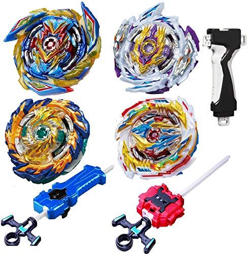 GiGimelon 4 Pcs Gyros Battle Set, Burst Battling Tops, Stickers & Launchers Set, Kids Boys Christmas Birthday Party Gift Idea