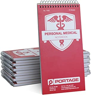 "Portage Personal Medical Notebook and Journal - Durable 8"" x 4"" Logbook for Tracking Daily Drug Intake, Blood Sugar Levels, and Blood Pressure, 12 Pack"