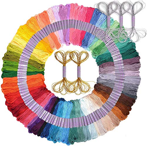 Premium 126 Piece Embroidery Floss and Friendship Bracelet Making Kit – DMC Color Card, Deluxe Gold and Silver String Included – Cross Stitch, Sewing Kit – Ideal Gift for Girls