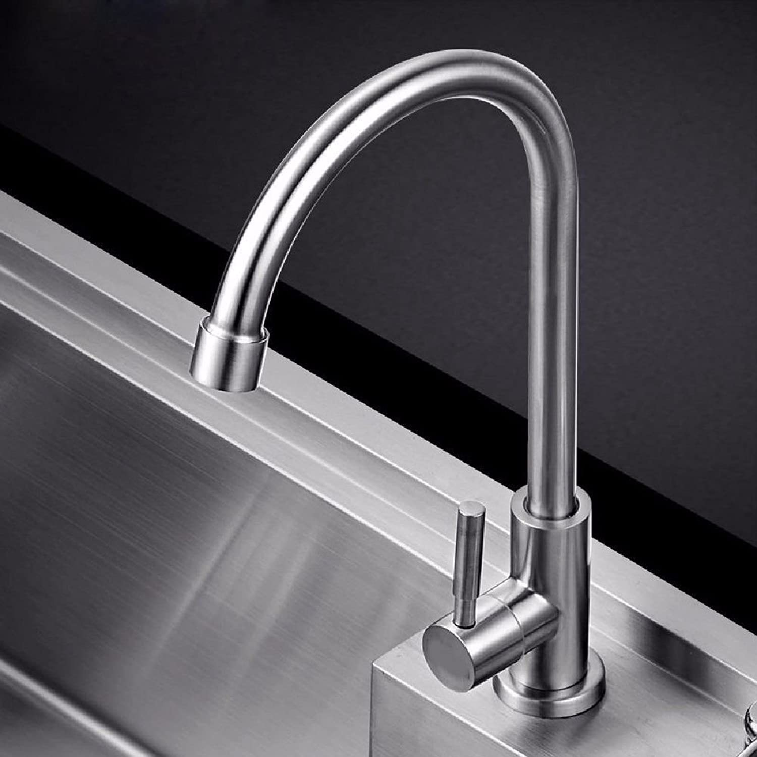 Commercial Single Lever Pull Down Kitchen Sink Faucet Brass Constructed Polished Kitchen 304 Stainless Steel Faucet Sink Single Cold Faucet Sink Faucet 360 redation