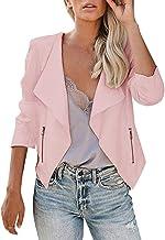 NANTE Top Loose Women's Blouse Blazer Jacket Long Sleeve Open Front Zipper Slim Lapel Office Coat Outwear Overcoat Womens Tops