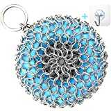 CKU Cast Iron Skillet Cleaner Chainmail Scrubber Silicone Core Dishwasher Safe (Blue)
