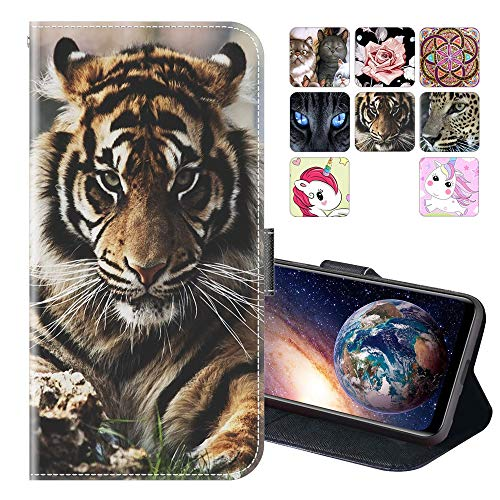 Cherfucome Funda para Alcatel A5 LED 5085 Carcasa Libro Flip Case Magnético Funda de Cuero PU Carcasa Alcatel A5 LED 5085 Funda Móvil Case Flip Leather Wallet [A02*Tigre]