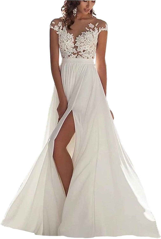 Chady Wedding Dress Chiffon Beach Wedding Dresses 20 lace Back Long Tail  Wedding Gowns Bride Dresses