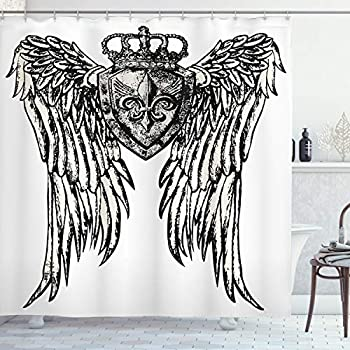 Ambesonne Fleur De Lis Shower Curtain Tribal Tattoo Design with Wings Historic Crest Crown and Eagle Cloth Fabric Bathroom Decor Set with Hooks 84  Long Extra Eggshell Black