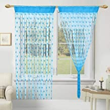 Geo Nature Polyester Eyelet Door Curtain (5 Feet, Blue) - Pack of 2 Piece