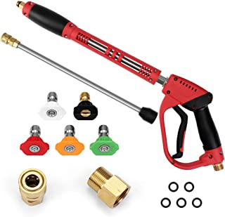 Yoobure Deluxe High Pressure Washer Gun, with Replacement Extension Wand Extension High Pressure Power Washer Gun, 5 Nozzle Tips, M22-14/15mm Fitting, 40 Inch, 5000 PSI